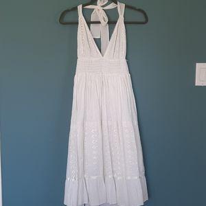 White eyelet halter dress